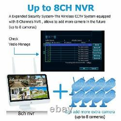 1080P Wireless Home Security Camera System Outdoor 8CH 12 Monitor 1TB HDD Video