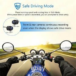 2 LCD Motorcycle DVR FHD WIFI Dash Cam Camera Dual Lens 1080P Video Recorder