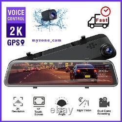 2K Dash Cam Dual Rear View Mirror 12 Backup Car Camera 1080P Waterproof TOGUARD
