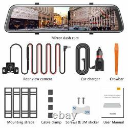 2K Mirror Dash Cam 12 Backup Camera Voice Control Touch with 1080P Waterproof