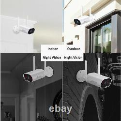 2K Security Camera System Wireless 8CH NVR 5MP Audio Night Vision Outdoor 1TB HD
