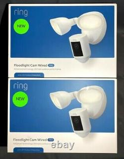 2PK Ring Floodlight Cam Wired Pro Camera 3D Motion-Activated HD Security White