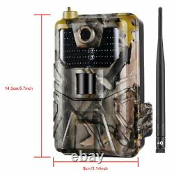 4G LTE MMS SMS Trail Camera Game Cam 1080P Outdoor Wildlif Hunting +Solar Panel