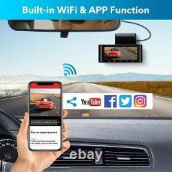 4K Car WiFi Dash Cam G-sensor Dual Camera Loop Recording Magnetic WDR Recorder