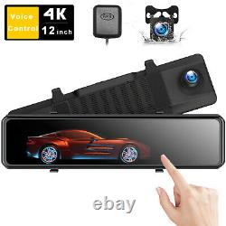 4K Mirror Dash Cam Backup Camera for Cars Voice Control GPS Tracking Waterproof