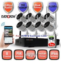 8CH 1080P Audio Wireless Outdoor CCTV Night Vision Camera Home Security System