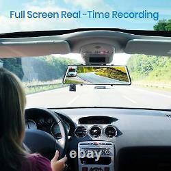 9.88'' Dual Lens Car DVR Rear View Mirror Dash Cam Front Camera Video Recorder