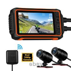 A10 150°Wide Angle 2CH 1080P 30FPS Motorcycle Wi-Fi GPS Dash Cam Camera G-Sensor