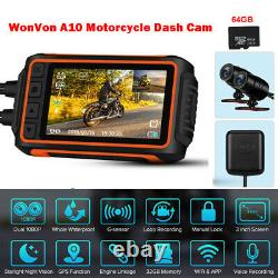 A10 IPS Motorcycle Wi-Fi GPS Dash Cam Camera Recorder 30FPS 2CH 1080P with 64GB