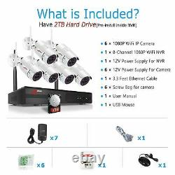 ANRAN 1080P Home Security Camera System Wireless 8CH Outdoor 6Pcs 2TB Hard Drive