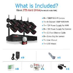 ANRAN 1080P Wireless Home Security Camera System 8CH Outdoor 2TB Hard Drive CCTV