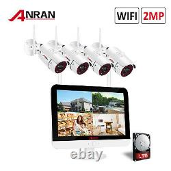 ANRAN 1080P Wireless Outdoor CCTV Security Camera System with 12LCD Monitor 1TB