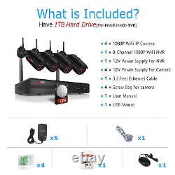 ANRAN 8CH 1080P Wireless Security Camera System HD WIFI NVR 4 IPCs Set 1TB Night