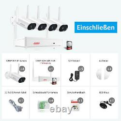 ANRAN Security Camera System Wireless 2K Home 8CH WIFI NVR With Hard Drive 1TB
