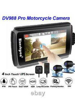 Blueskysea DV988 Pro Motorcycle Dash Cam Recorder Camera Wifi Loop Recording USA