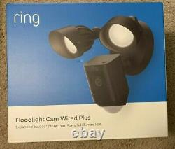 Brand New Ring Floodlight Cam Wired Plus Motion-activated Black Security Camera