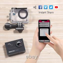 Dragon Touch 4K WiFi 16MP Action Camera Underwater Sports Cam with External Mic