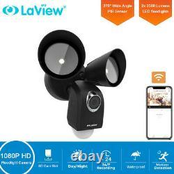 Floodlight Camera PIR Motion Detection 1080P HD Security Cam Two-Way Talk Black