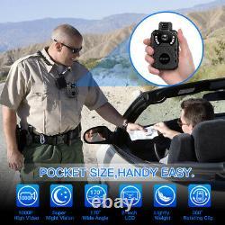 HD 1080P Body Worn Camera Night Vision Waterproof Body Mounted Cam 2.0'' Display