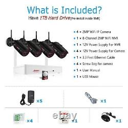 Home 1080P Wireless Outdoor Security Camera System WIFI 8CH 1TB Hard Drive CCTV