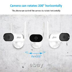 Home Security Camera System Wireless 3MP WIFI 4CH 64G Audio Pan Rotation White