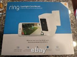 NEW Ring Spotlight Cam Mount Hard wired 1080p Wi-Fi Security Camera White