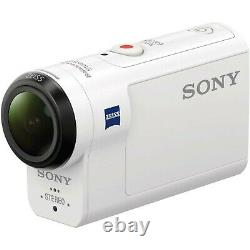 NEW Sony Action Cam HDR-AS300 HD Waterproof WHITE Video Camera Monopod camcorder