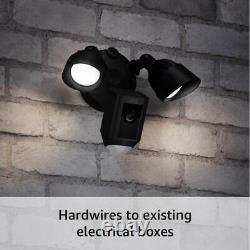 Ring Floodlight Camera Black Outdoor Motion sensor video Night Vision Wi-Fi cam