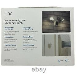 Ring Floodlight Camera Motion HD Security Cam Two Way Talk White with Chime Pro