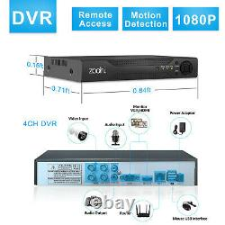 Security Camera System 1080P Home CCTV Outdoor 4CH 1TB Hard Drive HDMI Wired IR