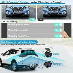 Triple Mirror Dash Cam 12 with Detached Front and in-Car Camera, Waterproof Rear