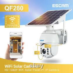 WiFi 1080P Solar PTZ IP Camera Security CCTV Waterproof Outdoor Night Vision Cam