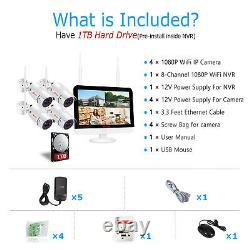 1080p Security Camera System Wireless Outdoor Wifi 12'' Monitor 1 To 8ch Cctv Kit