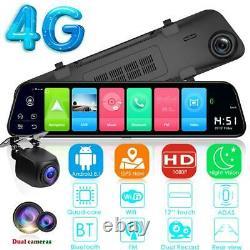 12 4g Android 8.1 Quad Core Bt Gps Navi Car Dvr Camera Dash Cam Enregistreur Vidéo