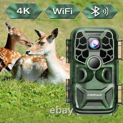24mp 4k Lite Trail Caméra Wifi Jeu De Chasse Cam Bluetooth 3pir Sensor Ip66
