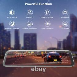 2k Mirror Dash Cam 12 Backup Camera Voice Control Touch Avec 1080p Waterproof