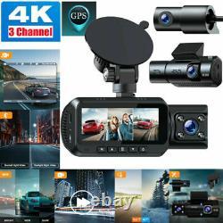 3 Objectif Caméra Cam Dash 4k Uhd Hdr Voiture Gps Dvr Vidéo Enregistreur De Conduite Ir