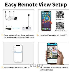 4ch Hd 3.0mp Système De Caméra De Sécurité Extérieure Audio Sans Fil Wifi Nvr Cctv Kit 64g