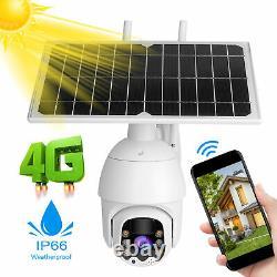 4g/wifi 1080p Caméra Solaire Ptz Ip Cctv Sécurité Waterproof Night Vision Outdoor