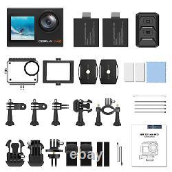 4k/30fps Vlogging Action Caméra 20mp Wifi Sports Cam Télécommande Double Écran