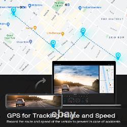 4k Mirror Dash Cam Caméra De Secours Pour Voitures Contrôle Vocal Gps Tracking Waterproof