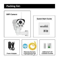 4x Zoom 5mp Wifi Caméra Ip Sans Fil En Plein Air Cctv Hd Ptz Audio Cam