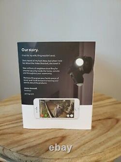 Anneau De Lumière De Crue Caméra De Sécurité Hd Activé Par Mouvement Cam Alarme, Noir, Alexa