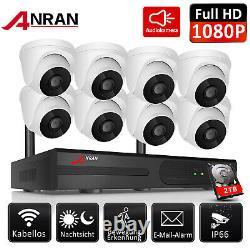 Anran Sans Fil 2mp Système De Sécurité 8channels Nvr Caméra Audio Wifi 1080p Set P2p
