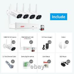 Audio Outdoor Wireless Security Wi-fi Caméra Système Cctv 3mp Hd Nvr Avec 1 To Hdd