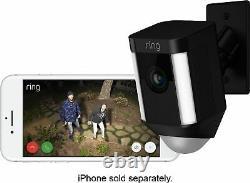 Bague Spotlight Cam Intérieur / Extérieur 1080p Wi-fi Caméra De Sécurité Sans Fil Noir