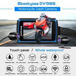 Blueskysea Dv988 4 Pouces Imperméable À L'eau 2ch 1080p Moto Wifi Gps Dash Cam Camera