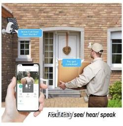Caméra De Sécurité Extérieure Wifi Sans Fil, Solar Powered Cam Avec Vision Nocturne 1080p