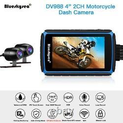 Dv988 4 Pouces Imperméable 2 Canaux 1080p Moto Wifi Cam Cam Caméra G-sensor