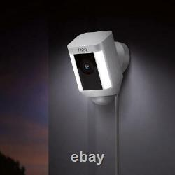 Ring Spot Light Cam Wired Outdoor Rectangle Security Camera En Blanc